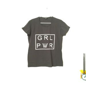 Black Cotton Girl Power T-Shirt - Size XL
